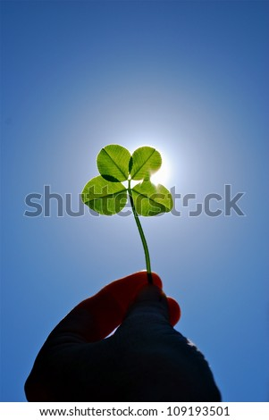 Four Leafed Clover held in hand with sunlight behind 15-06-12