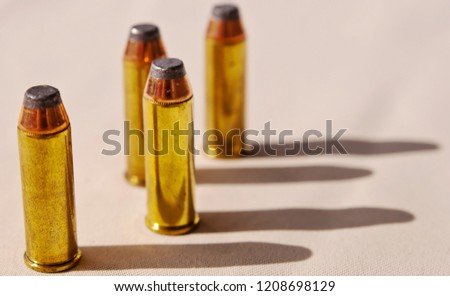 Four 44 magnum bullets shown on an off white background with shadows