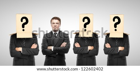 four man with box on hand, business concept