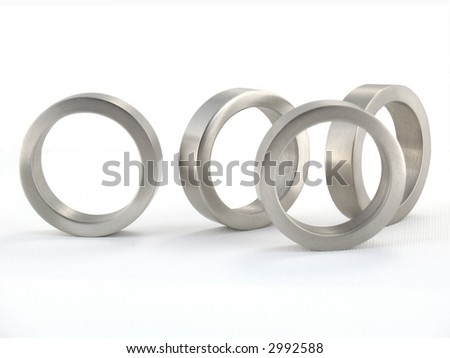 Four Metal Rings; Isolated; macro