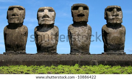 Four Moais on Easter Island (Ahu Tongariki)