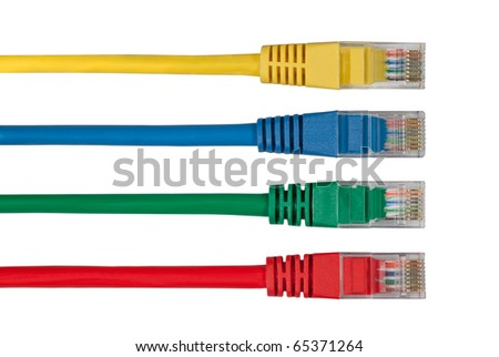 Four Multi Colored Network Cables. Red, Yellow, Green, Blue Color