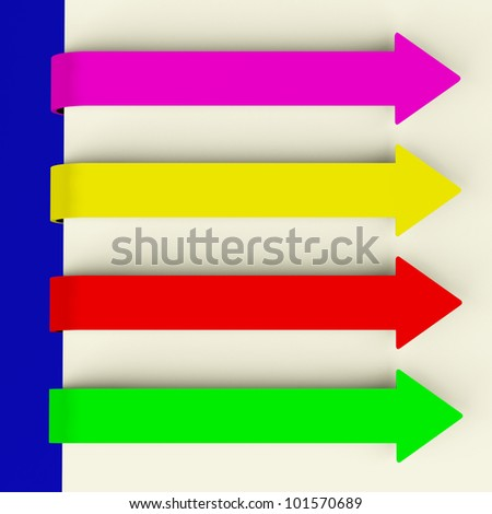 Four Multicolored Long Arrow Tabs Over Paper For Menu Lists Or Notes