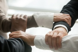 Four multiracial business people holding each others wrists, diverse partners join hands together as concept of reliable support in team, strength, power and unity in collaboration, close up view
