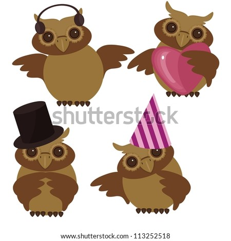four nice owls on white background