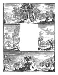 Four numbered representations from the Old Testament. Above: the creation of Eve, the temptation and the expulsion from paradise. Center right: Cain tills the land and Abel looks after the cattle