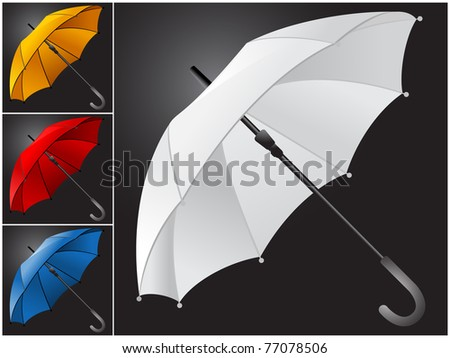 Four of open umbrella in white, red, blue and orange