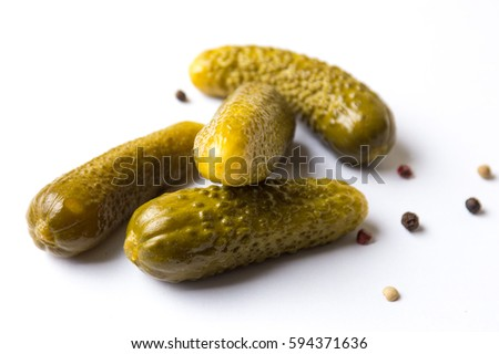 Shutterstock Four of pickled cucumbers on white background