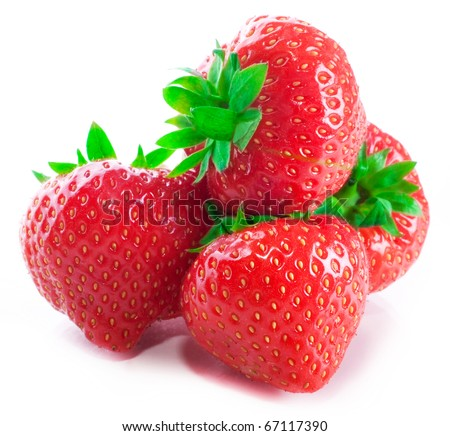 Four of red fresh strawberries with green tails with reflection and shades isolated on a white background