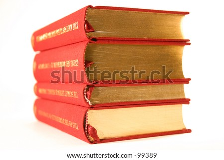 Four old books - stock photo