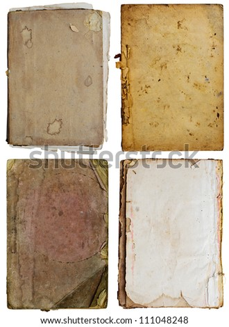 Four old books on white background.