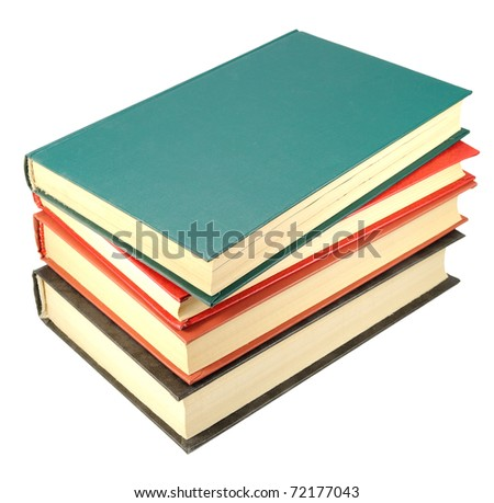 four old books stack isolated