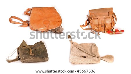 Four old hunting bags.