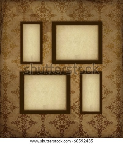 Four old photo frames on the vintage background