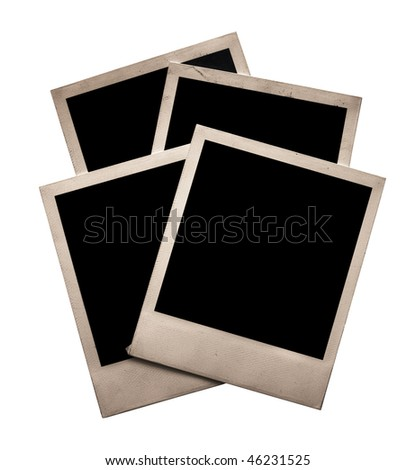 four old photos isolated on white background with clipping path