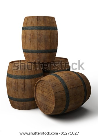 four old wooden barrels - 3d illustration isolated on white