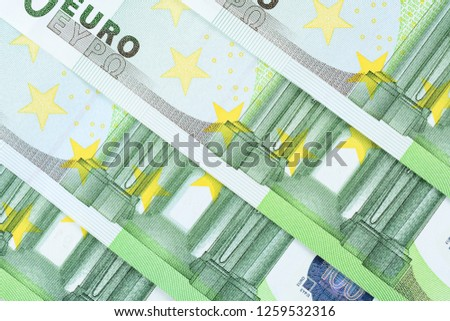 Four one hundred euro banknotes background, high resolution photo close up macro.