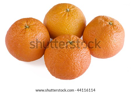 Four oranges isolated on a white background.