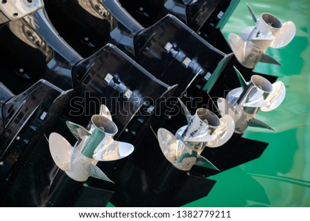 Four outboard motors on a speedboat #1382779211