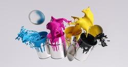 Four paint cans splashing CMYK colors, printing concept image