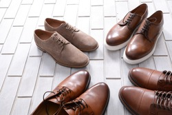 Four pair men's brown ,loafers ,boots, shoes and Leather shoes