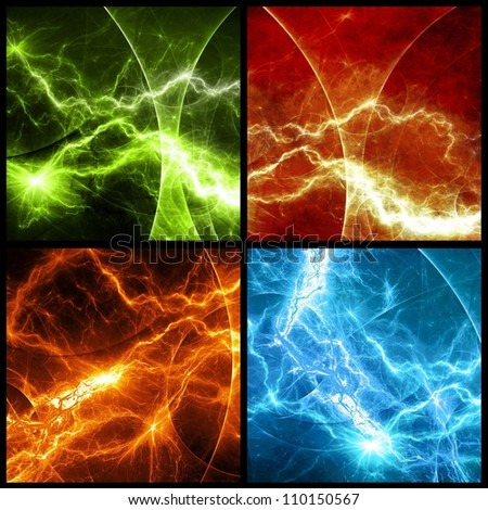 Four panels with colorful abstract lightnings