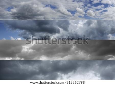 Four panoramas of cloudy sky over horizon. Storm, rainy sky. Thunderclouds.