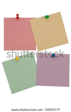 Four paper for notes isolated on white background