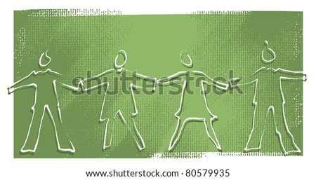 Four people holding hands, silhouette icons (painterly drawing)  (raster version) - stock photo
