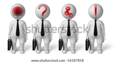 Four people standing on a white background and think