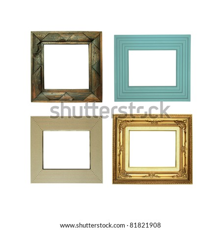 Four picture frames isolated on white