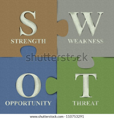 Four Pieces Colorful SWOT Puzzle Made From Recycle Paper For Business Concept - stock photo