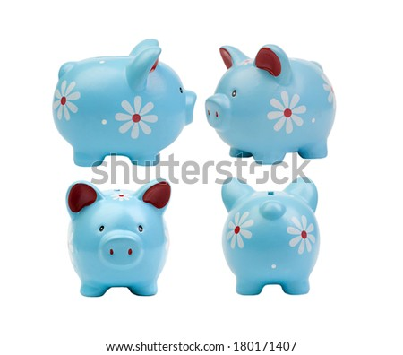 Four piggy banks  each in different position isolated on white background