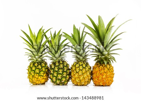 four pineapple close up, on white background, isolated #143488981