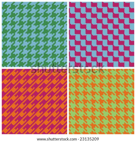 "Four ""pixel"" houndstooth patterns in retro brights. 6"" seamless repeat."