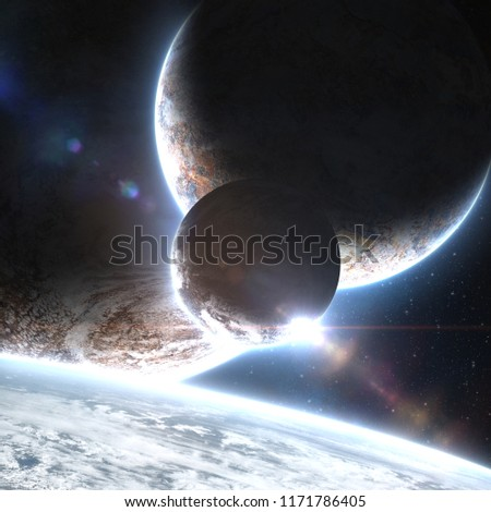 Four planets orbiting and collapsing each other in deep space cosmos web with bright atmosphere and glow with andromeda galaxy on the background. Elements of this image furnished by NASA