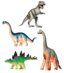 Four Plastic Dinosaur Toys Isolated on White