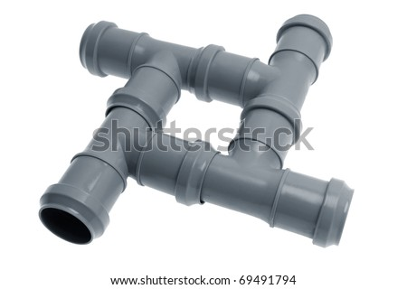 Four plastic sewer pipes composition on a white background