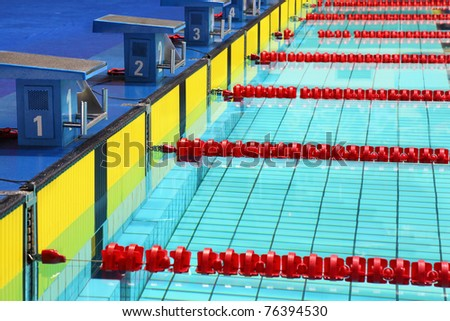 Four platforms for  start in swimming pool