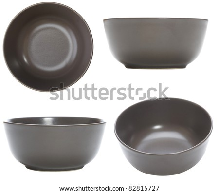 four point of view of empty bowl on white background - stock photo