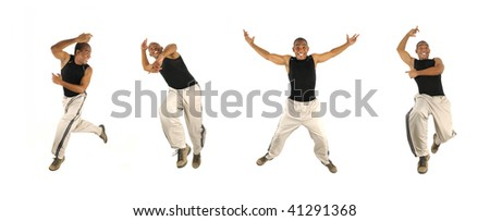 Four poses of young cheerful african american man jumping isolated