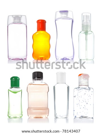 four product bottle isolated on white background