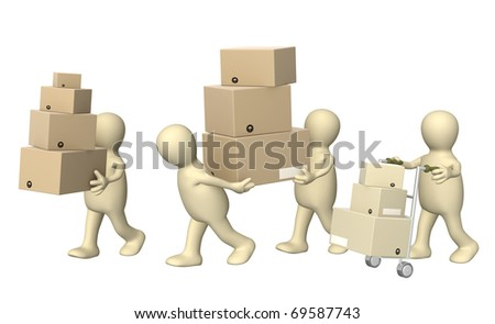 Four puppets with boxes. Isolated over white - stock photo