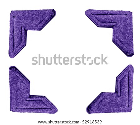 Four Purple Photo Corners isolated on white