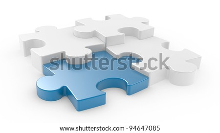 Four puzzle pieces interconnected with each other over white background. 3d illustration
