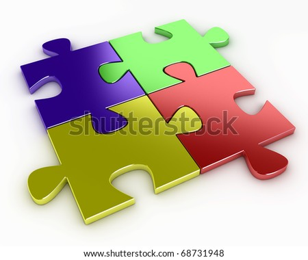 Four puzzle pieces of various colors, red, blue, yellow and green