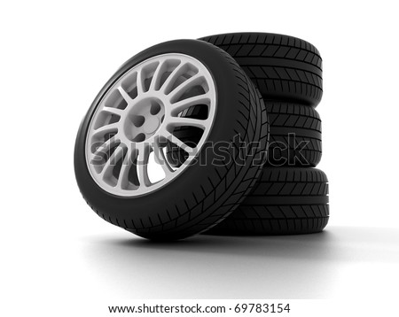 Four Rally Wheels isolated on white. 3D illustration