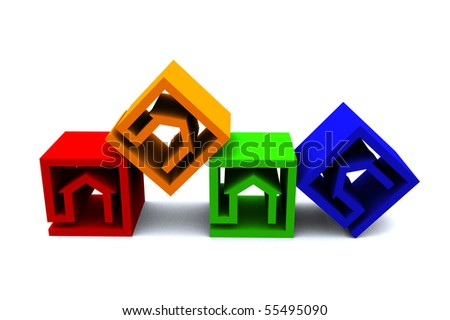 four real estate cubes in different colors