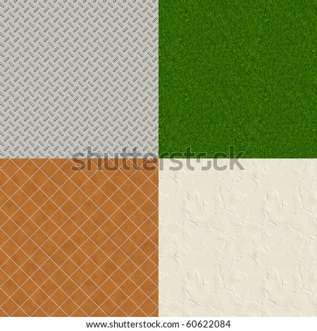 Four Realistic Illustrations of Tiles, Metal, Stucco and Grass Seamless Patterns