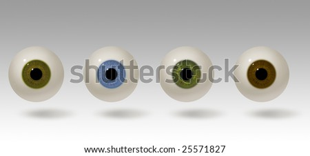 Four realistic raster illustrations of the human eye. Eyeball colors include hazel, blue, green and brown. The eyes are lit from above and cast a shadow. Eye balls are easy to isolate.